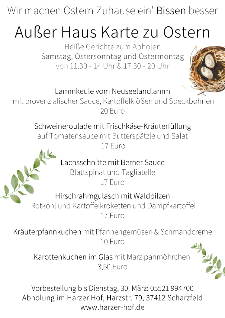 Ostern warme Gerichte zum Abholen Harzer Hof